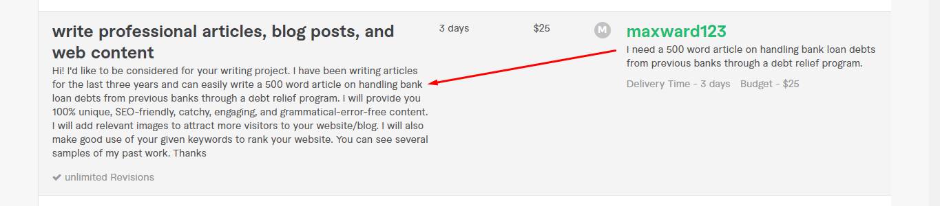 Screenshot of sample proposal request from freelance writer on Fiverr