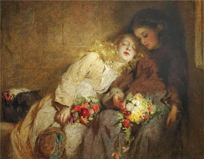 George Elgar Hicks - Two Seated Figures with Flowers