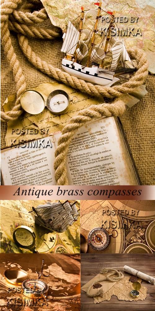Stock Photo: Antique brass compasses