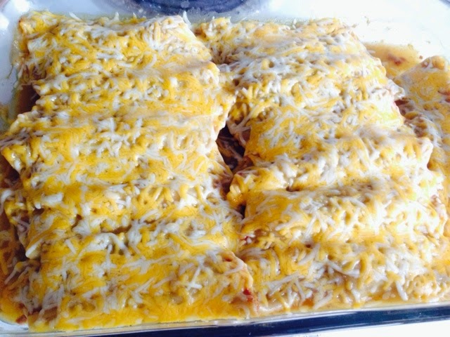 Mexican Manicotti, beans, cheese, taco sauce, ground beef, ground turkey