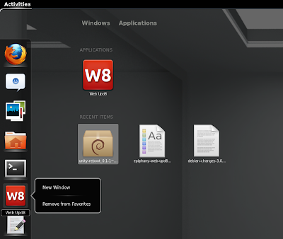 Epiphany web app Gnome shell