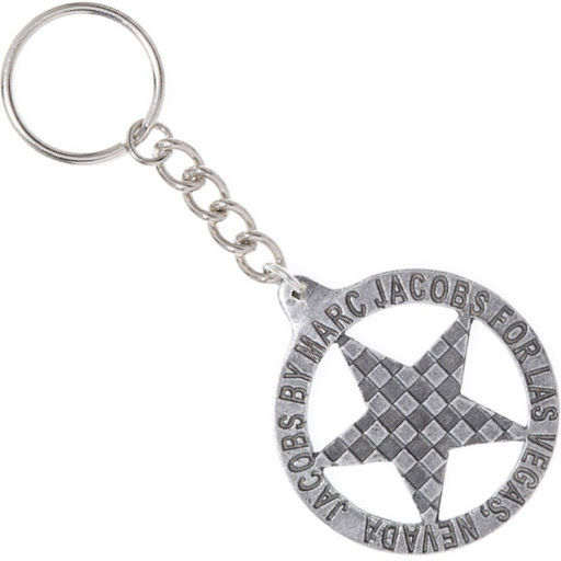 Marc by Marc Jacobs Vegas Badge Keychain Pewter Checker Star