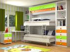 Dormitorio Modular con mesa de estudio, mesilla, y 2 camas abatibles, en este caso con las dos abiertas