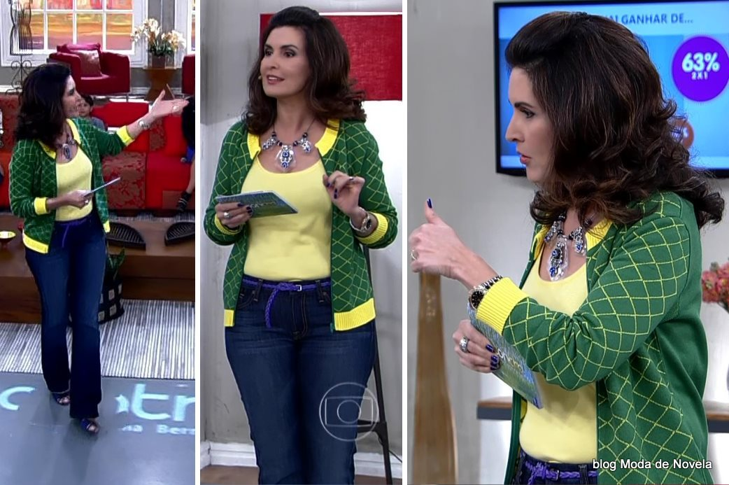 moda do programa Encontro - look da Fátima Bernardes com cardigã verde e amarelo