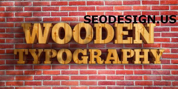 Realistic wood 3D typography text in Photoshop by denisdesigns