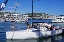 J/111 speedster sailboat at Cannes, France boatshow