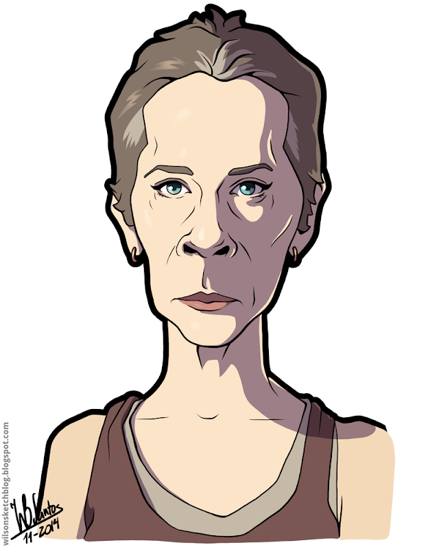 Cartoon caricature of Melissa Suzanne McBride as Carol Peletier from The Walking Dead.