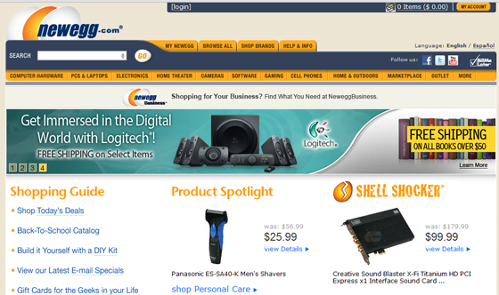 NewEgg 2012 homepage