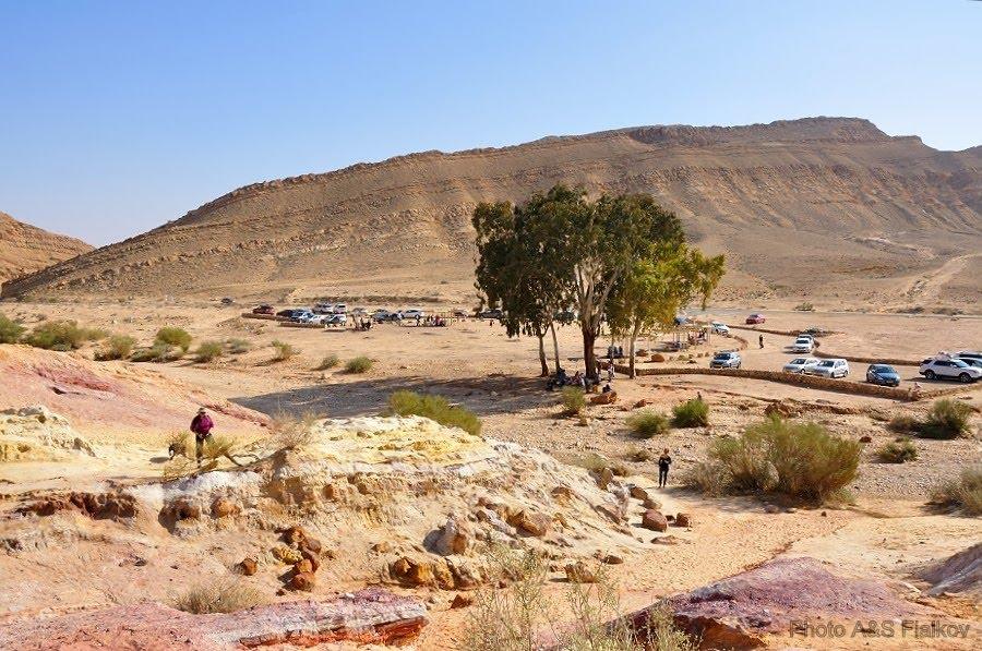Экскурсия в пустыню Негев, парковка у Цветных Песков.