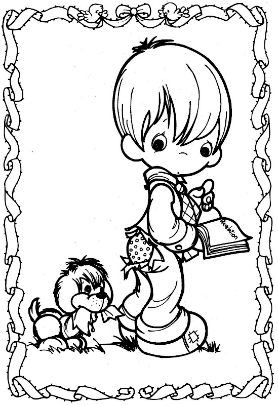 為孩子們的著色頁 Dog Bite A Kid Precious Moments Coloring Pages