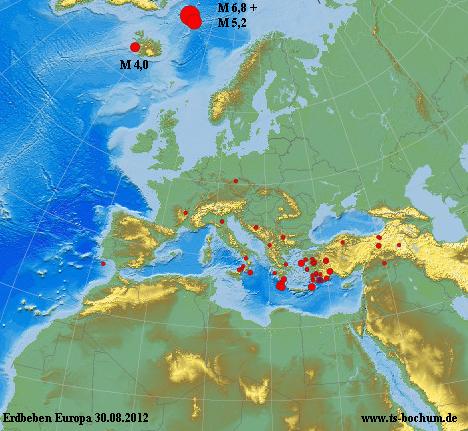 Erdbebenlage Europa am 30.08.2012