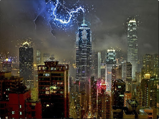 A lightning bolt strikes the antenna of The Centre building in Central, Hong Kong.jpg