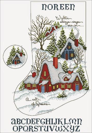 Winter Dreams Stocking cross stitch pattern