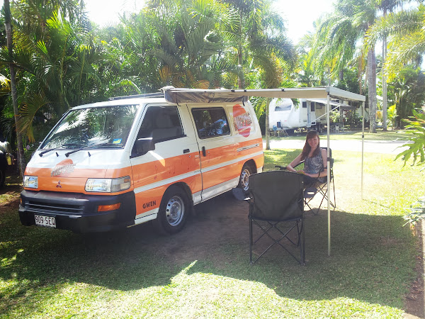 Enjoying some shade from our Hippie Camper in Cairns