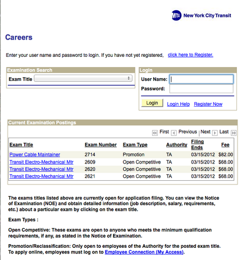 How to apply for mta jobs