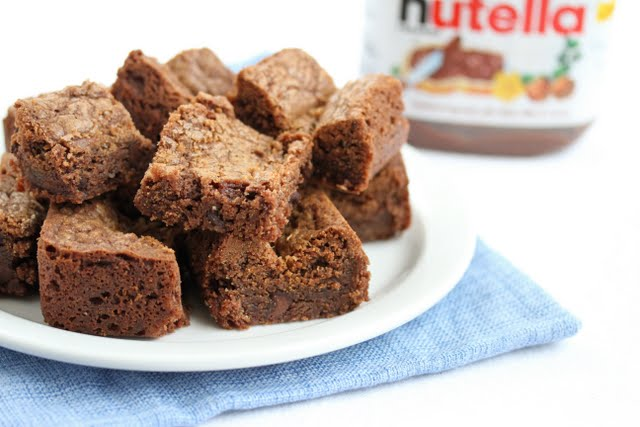 close-up photo of Nutella blondies on a plate
