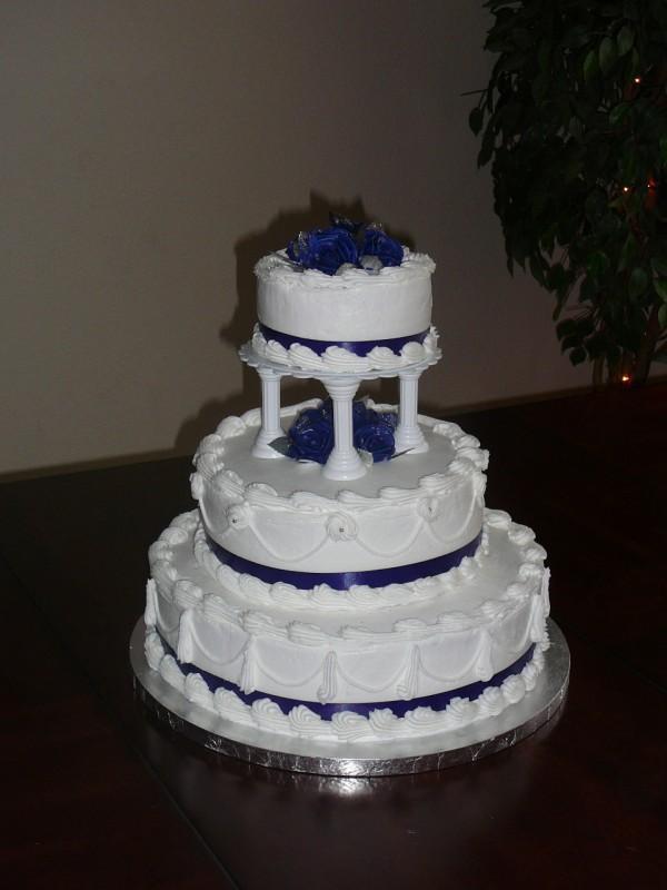 Sarah S Icing On The Cake 3 Tier Wedding Cake Blue White