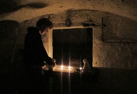 Creating a puppet skit in a Belgian cellar