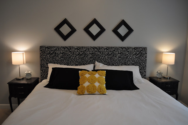 Guest Bedroom, DIY upholstered headboard, Valspar Gravity