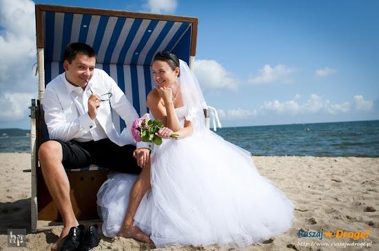 ślub Kasi i Maćka - sesja na plaży