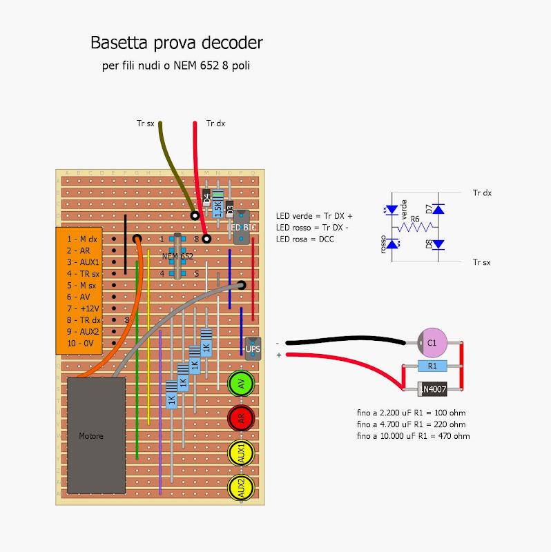 BASETTA DI CONVERSIONE DA ANALOGICO A DIGITALE PER LOCOMOTIVE DC to DCC BOARD