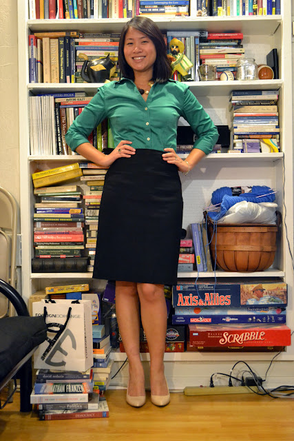 sacramento office fashion blogger angeline evans the new professional blog business casual banana republic blouse pencil skirt enzo angiolini piperlime patent pumps