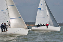 J/80s racing Warsash Spring series on Solent, England