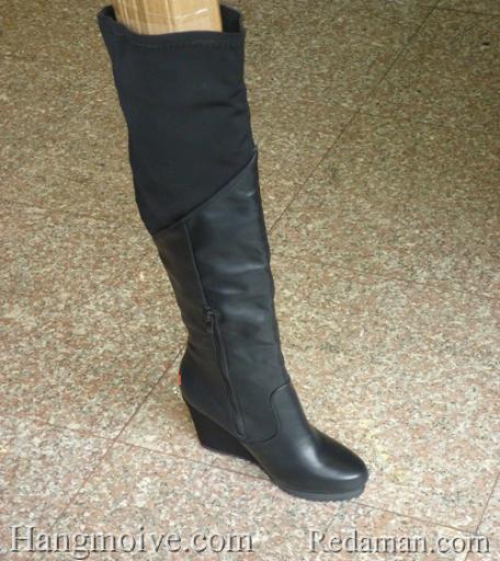 Boots cao co qua goi, da lon, den, cao 10cm