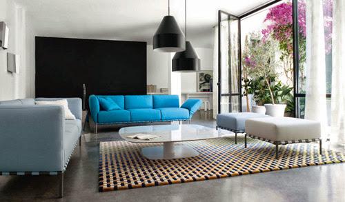 sofa màu xanh nước biển, xanh lơ
