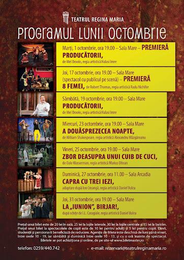 Programul teatrului de stat Oradea, octombrie 2013 #1