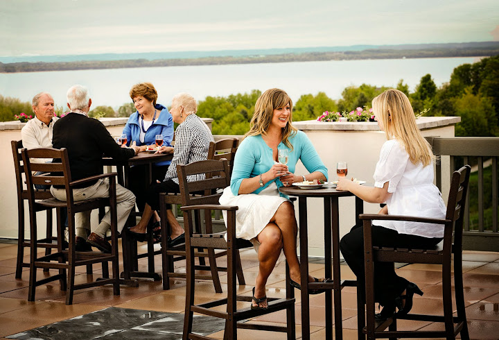 Chateau Chantal - East Bay Wine Terrace. From Michigan's Small Town Treasures: Wineries & Dinner on Mission Peninsula