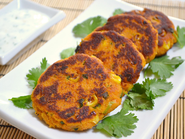cayenne pepper add big flavor to these savory Sweet Potato Corn Cakes ...