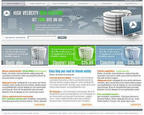 Free Full Web Hosting Flash Website Template