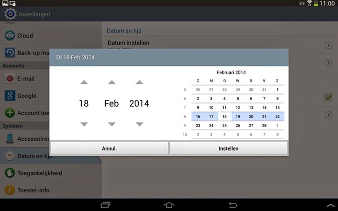 Datum instellen van Android smartphone of tablet