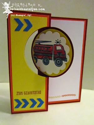 stampin up, fire truck, kid's birthday, kindergeburtstag, feuerwehr, flip card