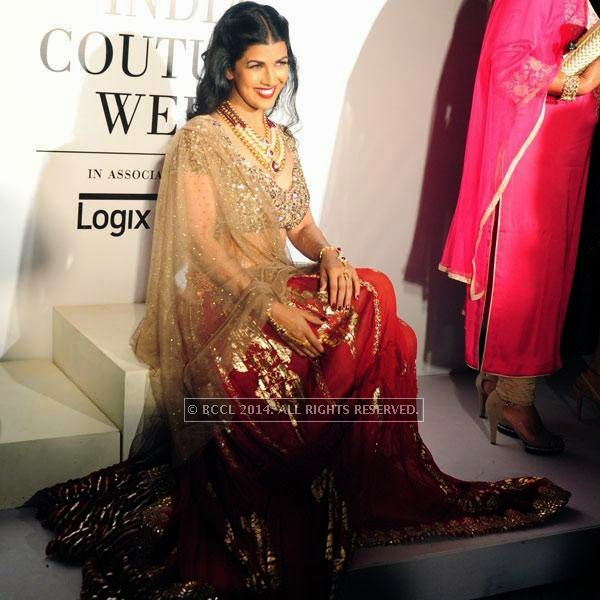Nimrat Kaur poses for Rina Dhaka on Day 2 of India Couture Week, 2014, held at Taj Palace hotel, New Delhi.