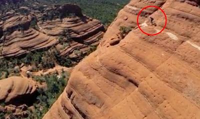 Ciclista Michal Kollbek desafia a morte nos penhascos de Sedona, Arizona