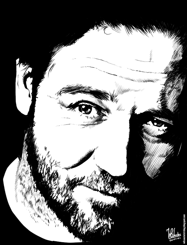 Ink drawing of Russel Crowe, using Krita 2.5.