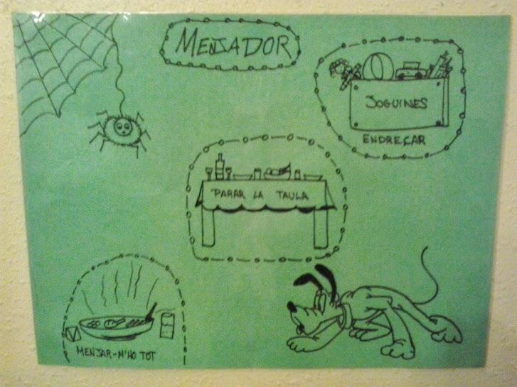 Cartulina del área del comedor con los dibujos correspondientes a las tareas.