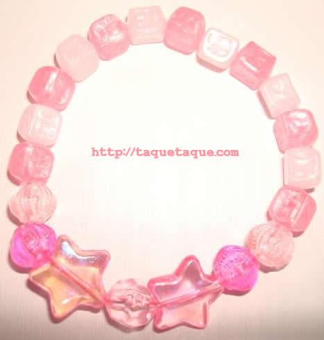 pulsera multicolor: abalorios rosas y blancos