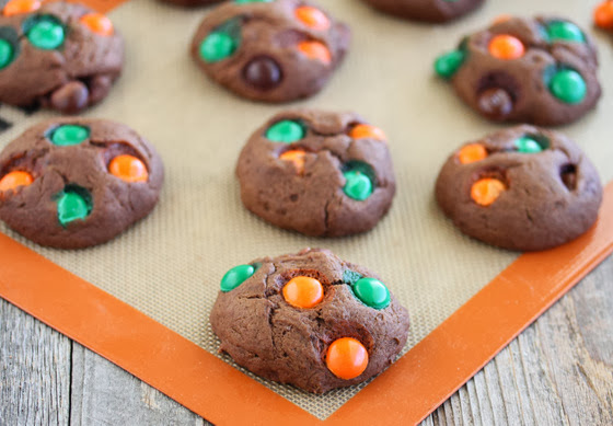 photo of Chocolate Pumpkin Spice M&M Cookies on a silpat