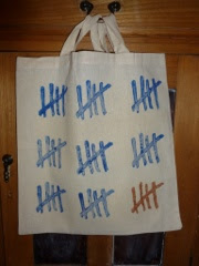 lino print, tally mark tote bag