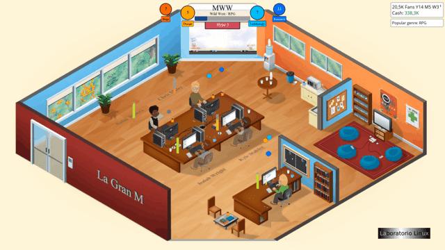 Primera oficina de Game Dev Tycoon en Ubuntu 13.04