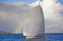 J/105 Creative sailing to Transpac Race finish line off Hawaii
