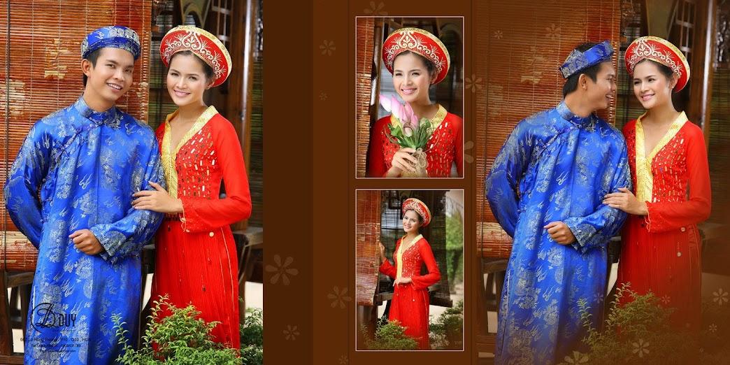 Diễm Châu với áo dài cưới truyền thống trong album hình cưới quận 2