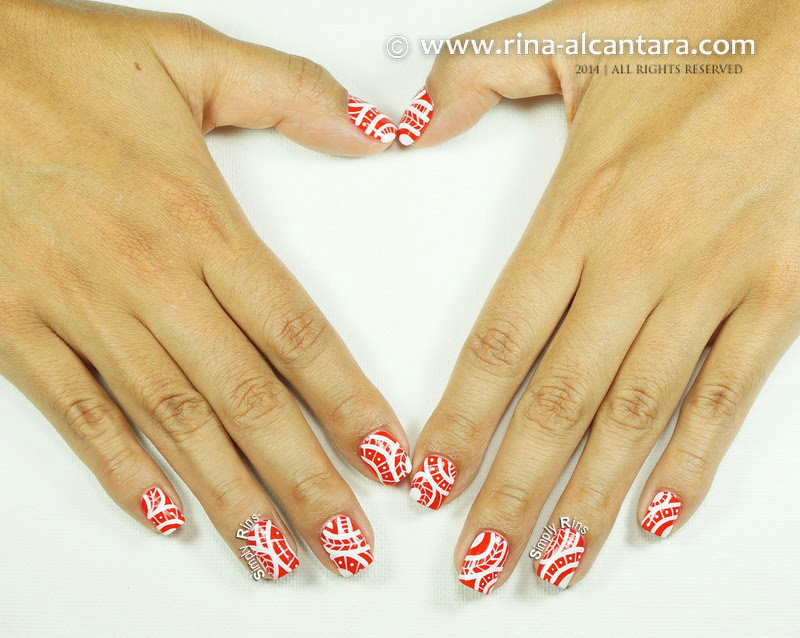 Red Tribal Nail Art for Valentines by Simply Rins