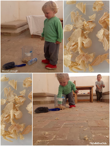 Sensory play wood shavings