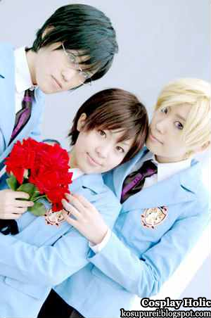 ouran high school host club cosplay - otori kyoya, fujioka haruhi, and suo tamaki