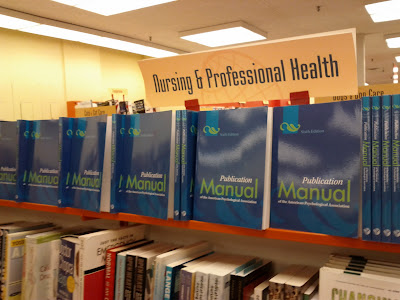 A whole row of APA Publication Manuals at the World's Biggest Bookstore