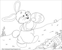 Easter bunny with egg - printable coloring sheet